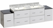 American Imaginations 74-in. W Wall Mount White Vanity Set For 3H8-in. Drilling Bianca Carara Top Biscuit UM Sink