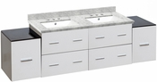 American Imaginations 74-in. W Wall Mount White Vanity Set For 3H8-in. Drilling Bianca Carara Top White UM Sink