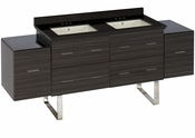 American Imaginations 75.5-in. W Floor Mount Dawn Grey Vanity Set For 3H4-in. Drilling Black Galaxy Top Biscuit UM Sink