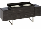 American Imaginations 75.5-in. W Floor Mount Dawn Grey Vanity Set For 3H8-in. Drilling Black Galaxy Top Biscuit UM Sink