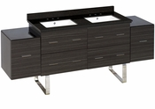 American Imaginations 75.5-in. W Floor Mount Dawn Grey Vanity Set For 3H8-in. Drilling Black Galaxy Top White UM Sink