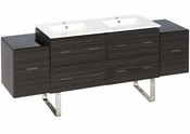 American Imaginations 76-in. W Floor Mount Dawn Grey Vanity Set For 1 Hole Drilling