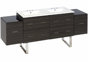 American Imaginations 76-in. W Floor Mount Dawn Grey Vanity Set For 3H8-in. Drilling