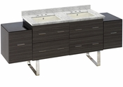 American Imaginations 76-in. W Floor Mount Dawn Grey Vanity Set For 3H8-in. Drilling Bianca Carara Top Biscuit UM Sink
