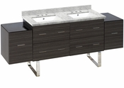 American Imaginations 76-in. W Floor Mount Dawn Grey Vanity Set For 3H8-in. Drilling Bianca Carara Top White UM Sink