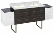 76-in. W Floor Mount White-Dawn Grey Vanity Set For 1 Hole Drilling Bianca Carara Top Biscuit UM Sink