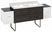 76-in. W Floor Mount White-Dawn Grey Vanity Set For 1 Hole Drilling Bianca Carara Top White UM Sink