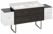76-in. W Floor Mount White-Dawn Grey Vanity Set For 3H4-in. Drilling Bianca Carara Top Biscuit UM Sink