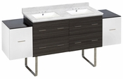 76-in. W Floor Mount White-Dawn Grey Vanity Set For 3H4-in. Drilling Bianca Carara Top White UM Sink