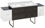 76-in. W Floor Mount White-Dawn Grey Vanity Set For 3H8-in. Drilling Bianca Carara Top White UM Sink