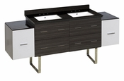 76-in. W Floor Mount White-Dawn Grey Vanity Set For 3H8-in. Drilling Black Galaxy Top White UM Sink