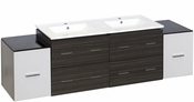 76-in. W Wall Mount White-Dawn Grey Vanity Set For 1 Hole Drilling