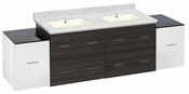 76-in. W Wall Mount White-Dawn Grey Vanity Set For 1 Hole Drilling Bianca Carara Top Biscuit UM Sink