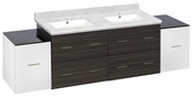 76-in. W Wall Mount White-Dawn Grey Vanity Set For 1 Hole Drilling Bianca Carara Top White UM Sink