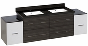 76-in. W Wall Mount White-Dawn Grey Vanity Set For 1 Hole Drilling Black Galaxy Top White UM Sink