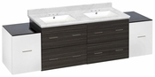 76-in. W Wall Mount White-Dawn Grey Vanity Set For 3H4-in. Drilling Bianca Carara Top White UM Sink
