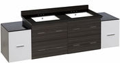 76-in. W Wall Mount White-Dawn Grey Vanity Set For 3H4-in. Drilling Black Galaxy Top White UM Sink
