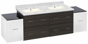 76-in. W Wall Mount White-Dawn Grey Vanity Set For 3H8-in. Drilling Bianca Carara Top Biscuit UM Sink