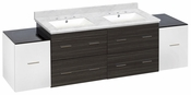 76-in. W Wall Mount White-Dawn Grey Vanity Set For 3H8-in. Drilling Bianca Carara Top White UM Sink