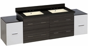 76-in. W Wall Mount White-Dawn Grey Vanity Set For 3H8-in. Drilling Black Galaxy Top Biscuit UM Sink