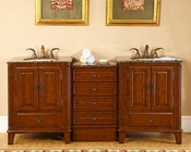"76"" Silkroad Double Sink Cabinet w/Drawer Bank Granite Top"