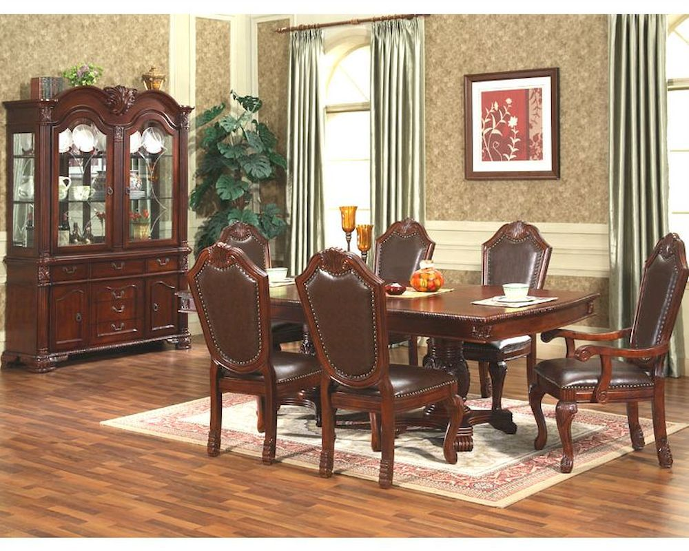 7pc formal dining room set in classic cherry mcfd5004 for Cherry dining room set
