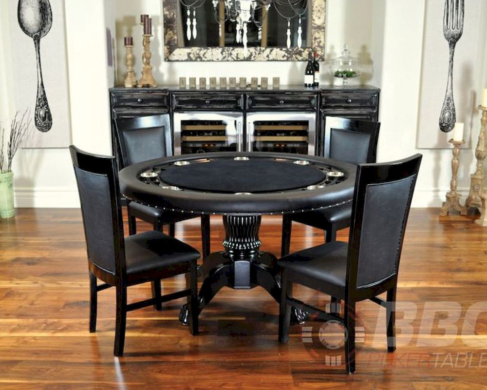8 Player Round Poker Table Set with Classic Chairs PT77041