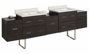 American Imaginations 88.5-in. W Floor Mount Dawn Grey Vanity Set For 3H4-in. Drilling White UM Sink