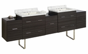 American Imaginations 88.5-in. W Floor Mount Dawn Grey Vanity Set For 3H8-in. Drilling Bianca Carara Top Biscuit UM Sink