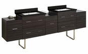 American Imaginations 88.5-in. W Floor Mount Dawn Grey Vanity Set For 3H8-in. Drilling Black Galaxy Top White UM Sink