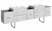 88.5-in. W Floor Mount White Vanity Set For 1 Hole Drilling
