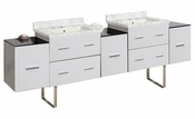 American Imaginations 88.5-in. W Floor Mount White Vanity Set For 1 Hole Drilling Bianca Carara Top Biscuit UM Sink