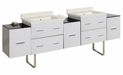 American Imaginations 88.5-in. W Floor Mount White Vanity Set For 1 Hole Drilling Biscuit UM Sink