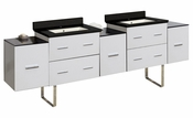 American Imaginations 88.5-in. W Floor Mount White Vanity Set For 1 Hole Drilling Black Galaxy Top Biscuit UM Sink
