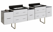 88.5-in. W Floor Mount White Vanity Set For 1 Hole Drilling Black Galaxy Top White UM Sink
