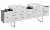 American Imaginations 88.5-in. W Floor Mount White Vanity Set For 1 Hole Drilling White UM Sink