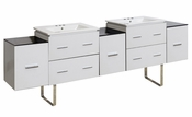 American Imaginations 88.5-in. W Floor Mount White Vanity Set For 3H4-in. Drilling