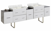 American Imaginations 88.5-in. W Floor Mount White Vanity Set For 3H4-in. Drilling Bianca Carara Top Biscuit UM Sink