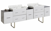 American Imaginations 88.5-in. W Floor Mount White Vanity Set For 3H8-in. Drilling Bianca Carara Top White UM Sink
