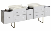 American Imaginations 88.5-in. W Floor Mount White Vanity Set For 3H8-in. Drilling Biscuit UM Sink