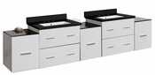 American Imaginations 88.5-in. W Wall Mount White Vanity Set For 3H8-in. Drilling Black Galaxy Top White UM Sink
