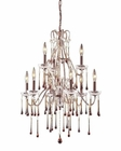 ELK 9 Light Chandelier in Rust  and Amber Crystal EK-4013-6-3AMB