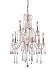 ELK 9 Light Chandelier in Rust and Rose Crystal EK-4013-6-3RS