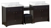 American Imaginations 93.25-in. W Floor Mount Distressed Antique Walnut Vanity Set For 3H4-in. Drilling Bianca Carara Top White UM Sink