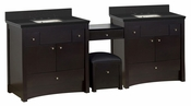 American Imaginations 93.25-in. W Floor Mount Distressed Antique Walnut Vanity Set For 3H8-in. Drilling Black Galaxy Top Biscuit UM Sink