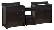 American Imaginations 93.25-in. W Floor Mount Distressed Antique Walnut Vanity Set For 3H8-in. Drilling Black Galaxy Top White UM Sink