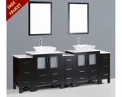 96in Square Vessel Sink Double Vanity by Bosconi BOAB230S3S