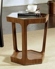 Abbyson Enzo Glass Walnut End Table AB-55AD-215-END