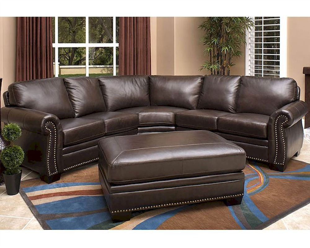Strange Abbyson Oxford Italian Leather Sectional Sofa Ab 55Ci N410 Brn Gmtry Best Dining Table And Chair Ideas Images Gmtryco