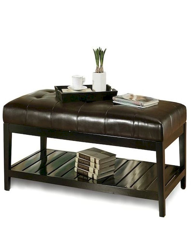 Abbyson Winslow Tufted Leather Coffee Table Ottoman Ab 55hs Ot 036 Brn